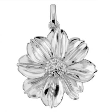 Sterling Silver Marigold October Flower Pendant