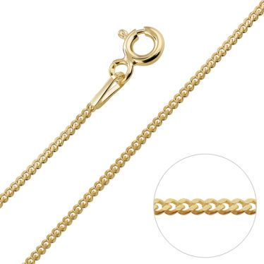 9ct Yellow Gold plated 1.2mm Curb Chain
