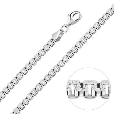 Sterling Silver 3.5mm Greek Box Pave Chain Necklace