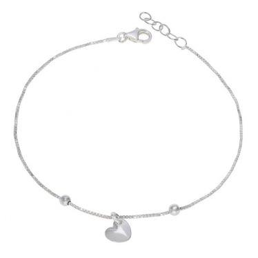 Sterling Silver Heart on Extendable  Box Link Bracelet