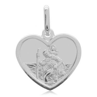 Sterling Silver Heart Shape St Christopher Pendant