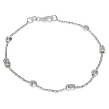 Sterling Silver Multi Beaded Popcorn Bracelet 7 Inch