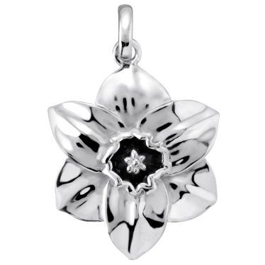 Sterling Silver Narcissus December Flower Pendant