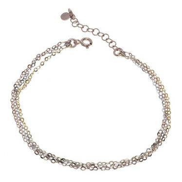 Sterling Silver Rose Yellow Gold Layered Extendable Bracelet 7 7.5 8 Inch