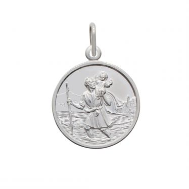 Sterling Silver round St Christopher pendant polished with simple border