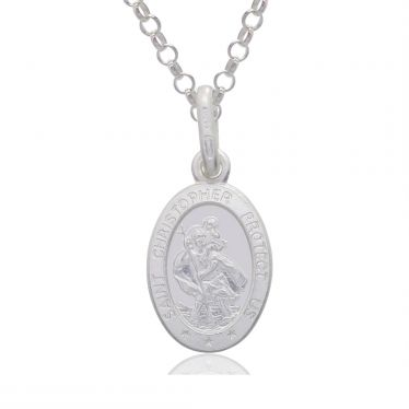 Sterling Silver St Christopher Necklace Oval 12mm Protect us message with Belcher chain