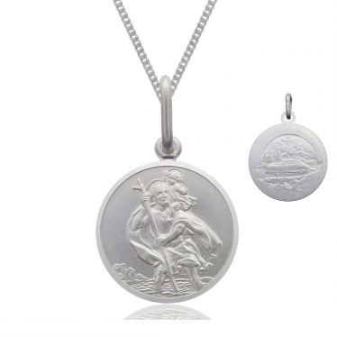 Sterling Silver St Christopher necklace 10mm Bevelled Edge double sided with Curb chain