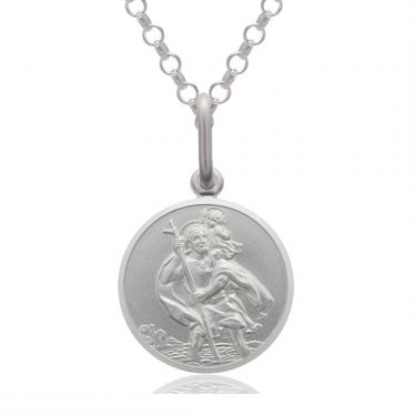 Sterling Silver St Christopher necklace 12mm Round Bevelled Edge with Belcher chain