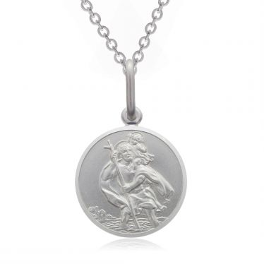 Sterling Silver St Christopher necklace 12mm Round Bevelled Edge with Cable Trace chain