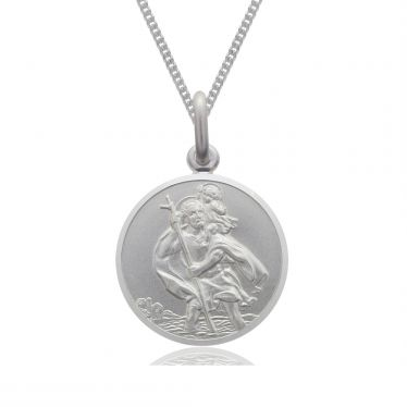 Sterling Silver St Christopher necklace 12mm Round Bevelled Edge with Curb chain