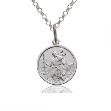 Sterling Silver St Christopher Necklace Belcher chain 10mm Children