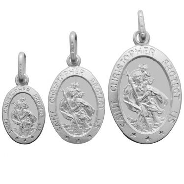 Sterling Silver St Christopher Oval pendant in a satin finish and worded border multi size front view