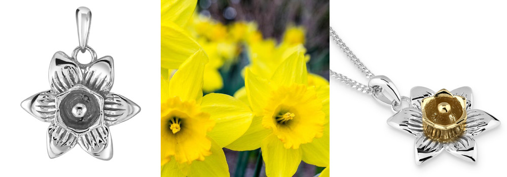 Sterling Silver March Daffodil Flower Pendant