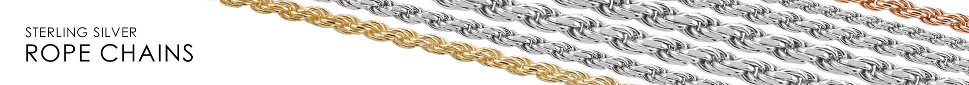 Sterling Silver Rope Chain Link Horizontal Banner