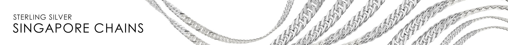 Sterling Silver Singapore Chain Horizontal Banner