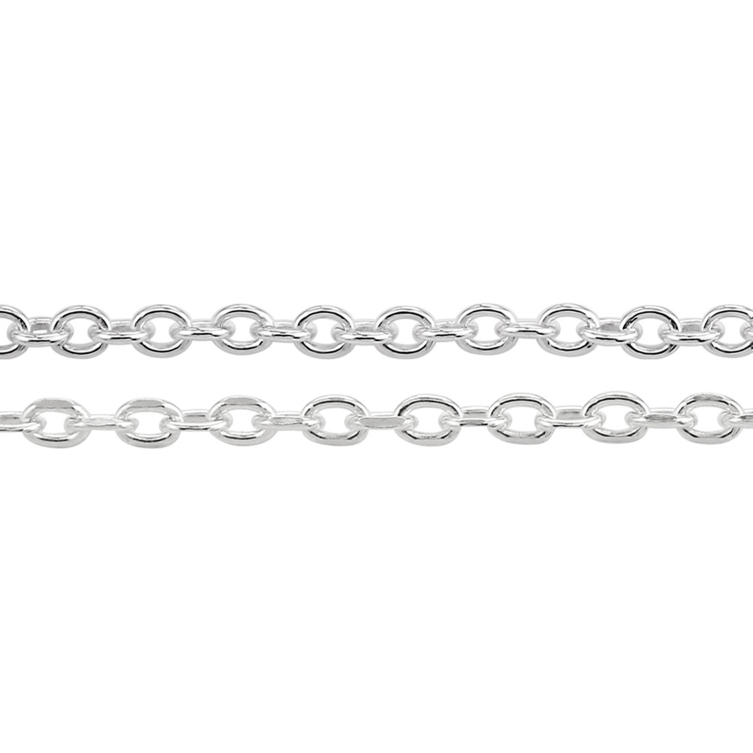 Sterling Silver Cable Trace Chain Necklace Without Diamond Cut