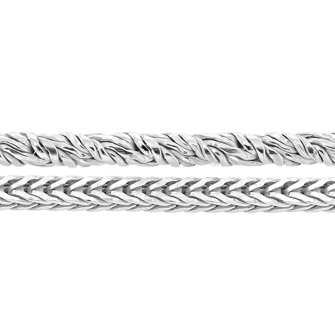 Sterling Silver Twisted Round Foxtail Chain