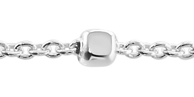 Sterling Silver Cable Chain with Cube Beads